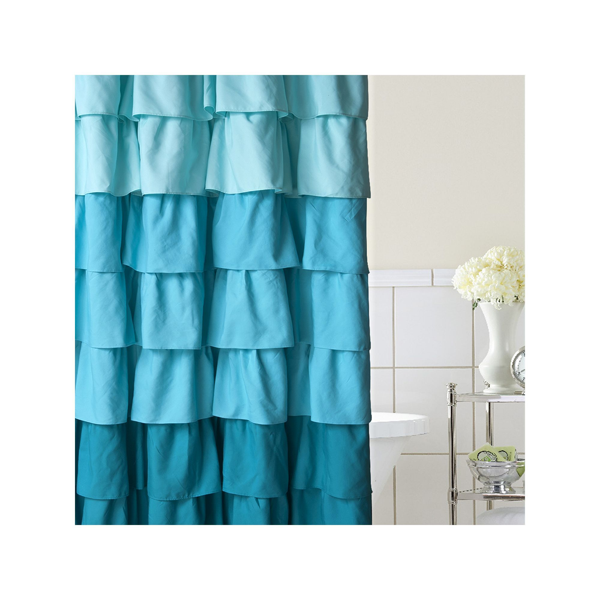 Home Classics® Ruffle Ombre Fabric Shower Curtain | Ombre fabric and ...