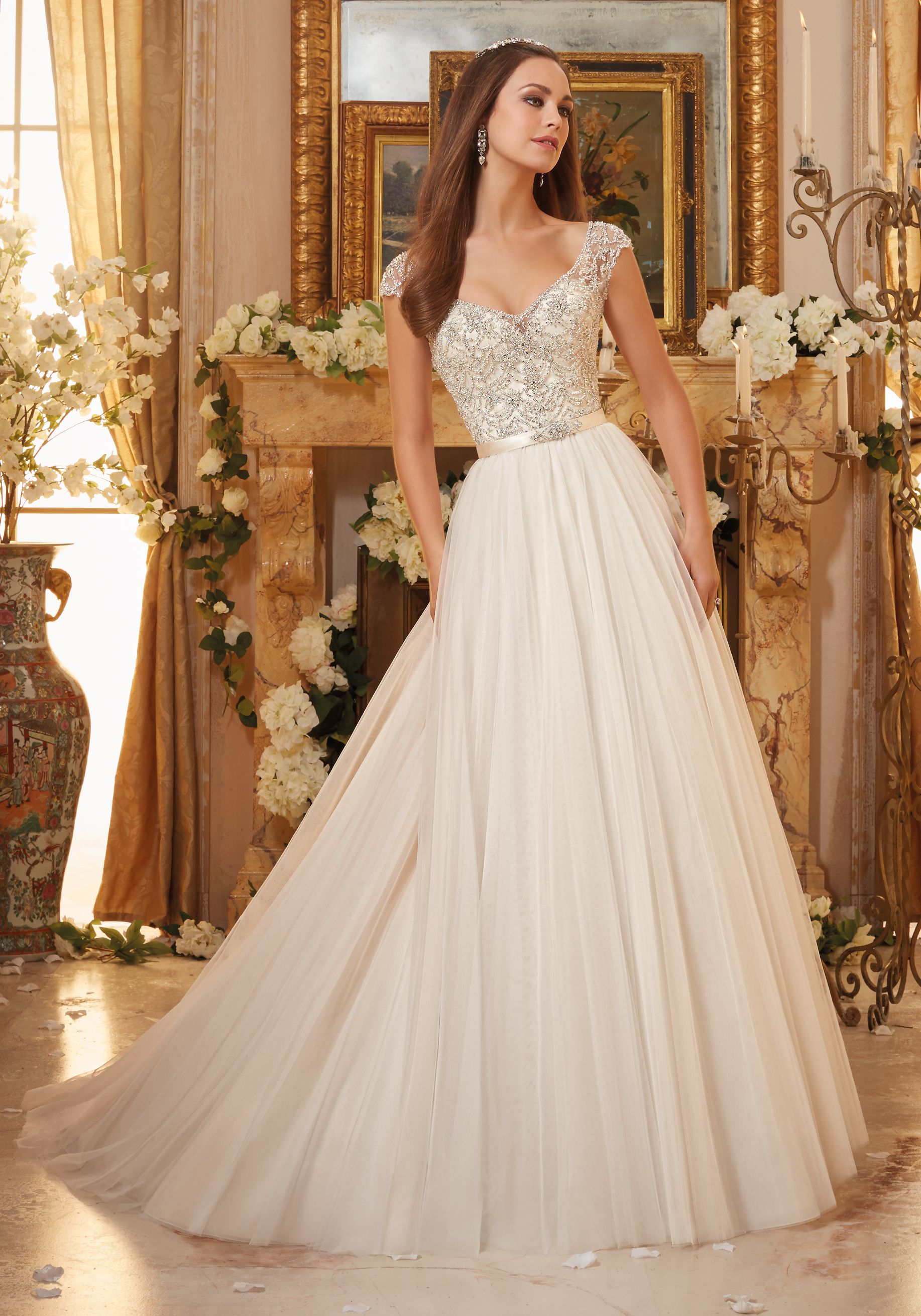 Crystallized Embroidery on Soft Tulle Ball Gown Morilee Bridal ...