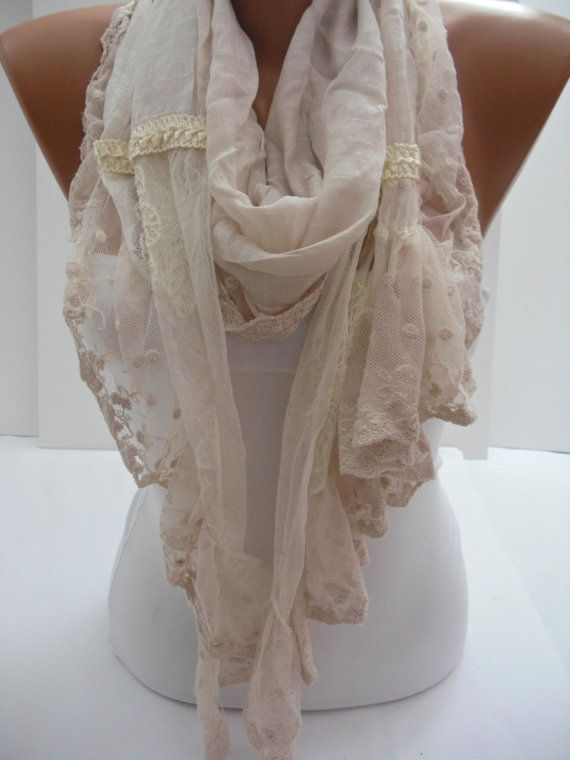 Cream Shawl/Scarf  with Lace by DIDUCI on Etsy $21