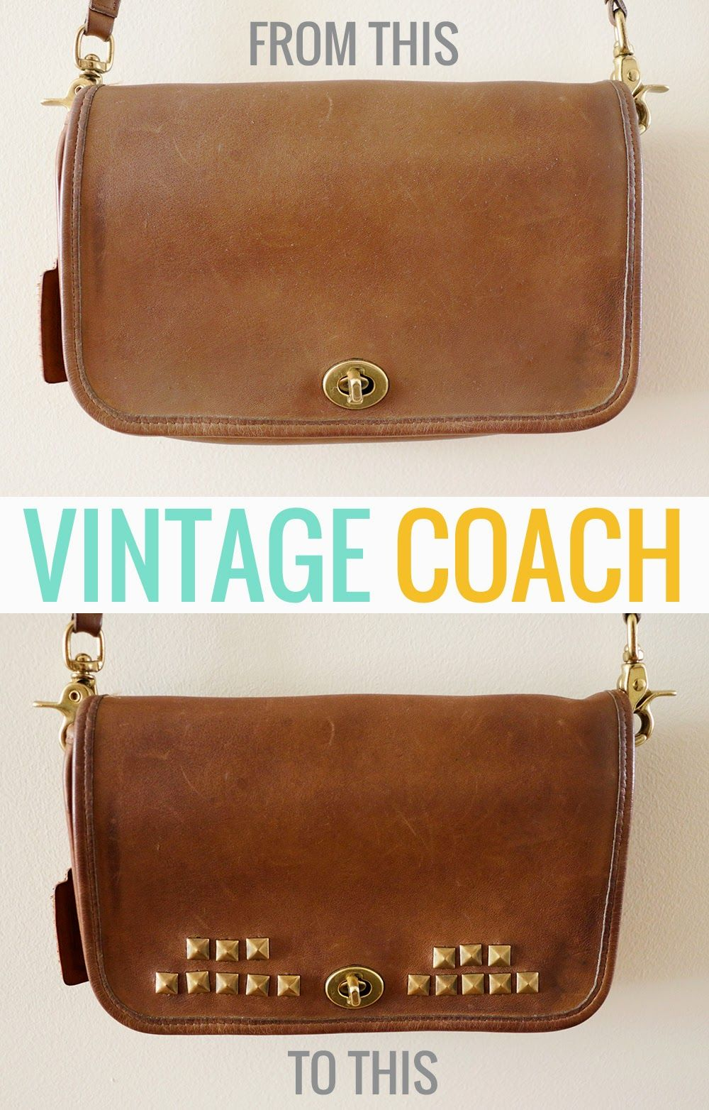 f3b7db227e9c Thriftables: Vintage Coach Purse Makeover. Turn a dried-out vintage leather  purse into a beautiful, worn-in studded bag.