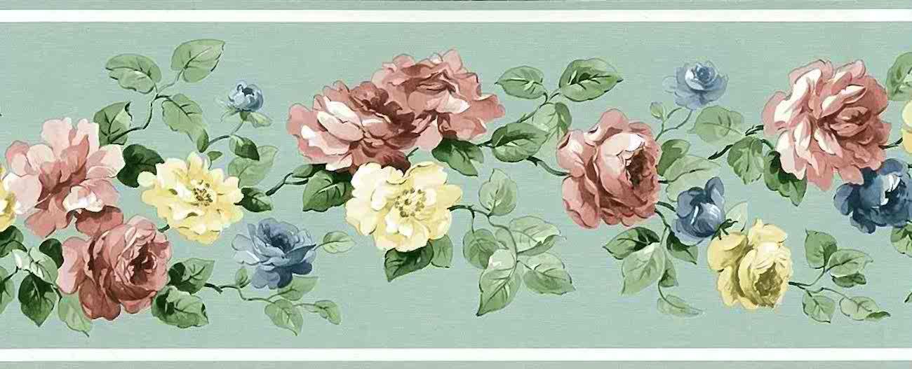 Mint Green Vintage Wallpaper Border Roses Ch7154b Free Ship Vintage Wallpaper Floral Wallpaper Border Green Floral Wallpaper
