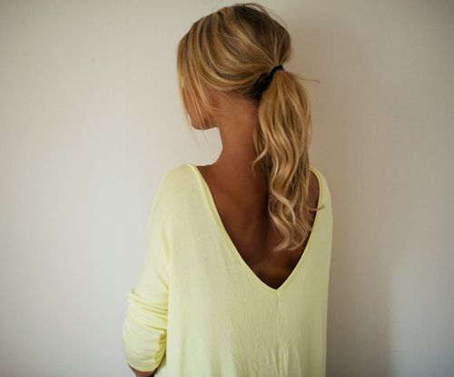 Pale yellow open back top.