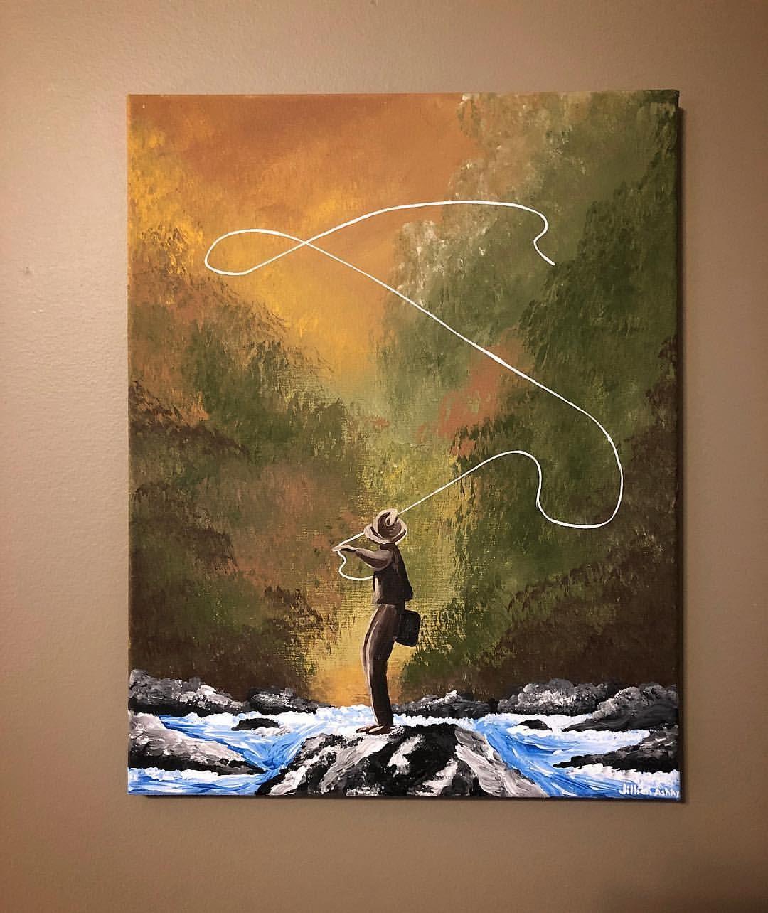 Fly Fishing 8x10 Lake Art Painting Fisherman Saltwater Christmas Present Fish Freshwater 11x14 Print STRIPED BASS Fishing