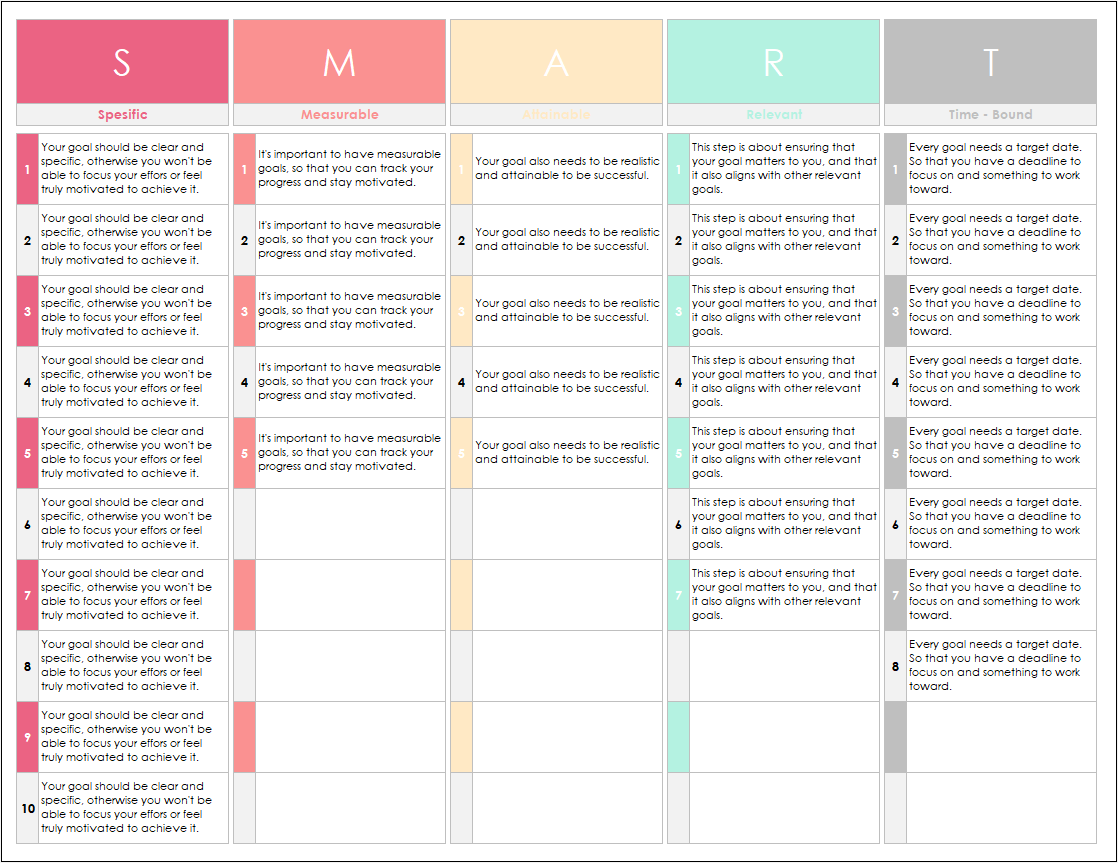 Smart Goalysis Excel Template In