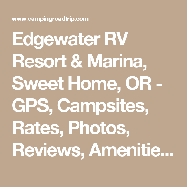 Edgewater RV Resort Marina Sweet Home OR