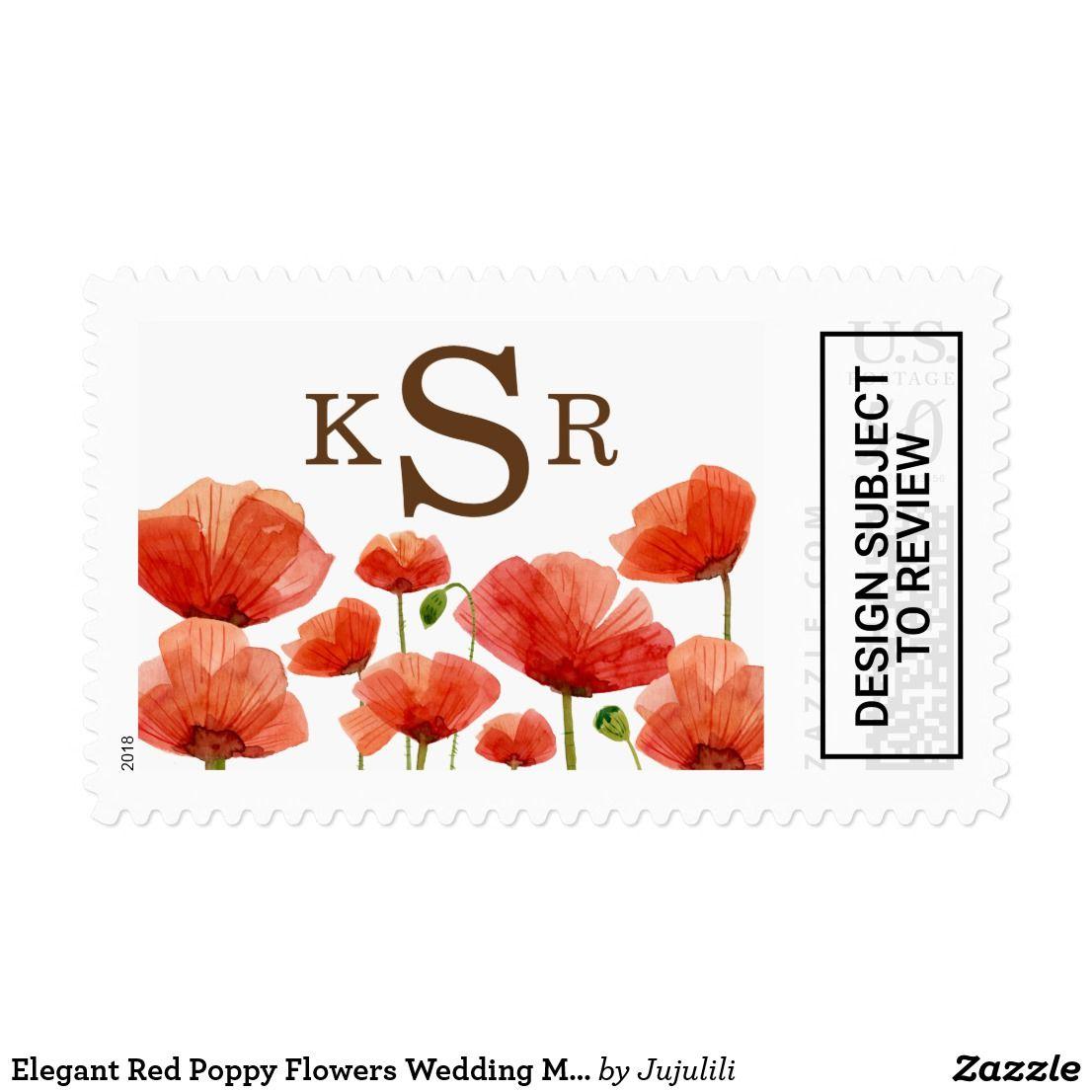 Elegant Red Poppy Flowers Wedding Monogram Postage | Pinterest ...