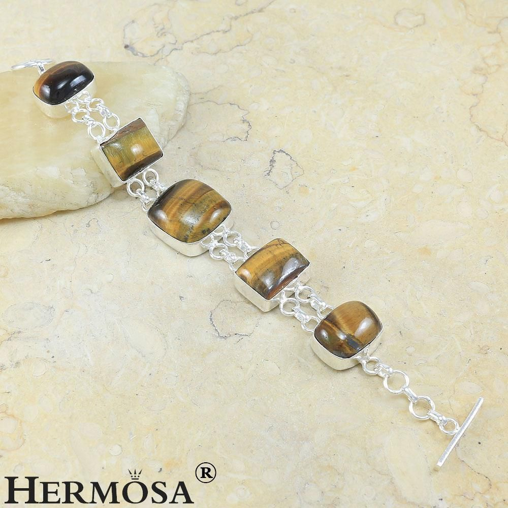"Natural Brown Tiger Eye Trendy New 925 Sterling Silver Chain Bracelet 7.5"" #B1 #Hermosa #Chain"