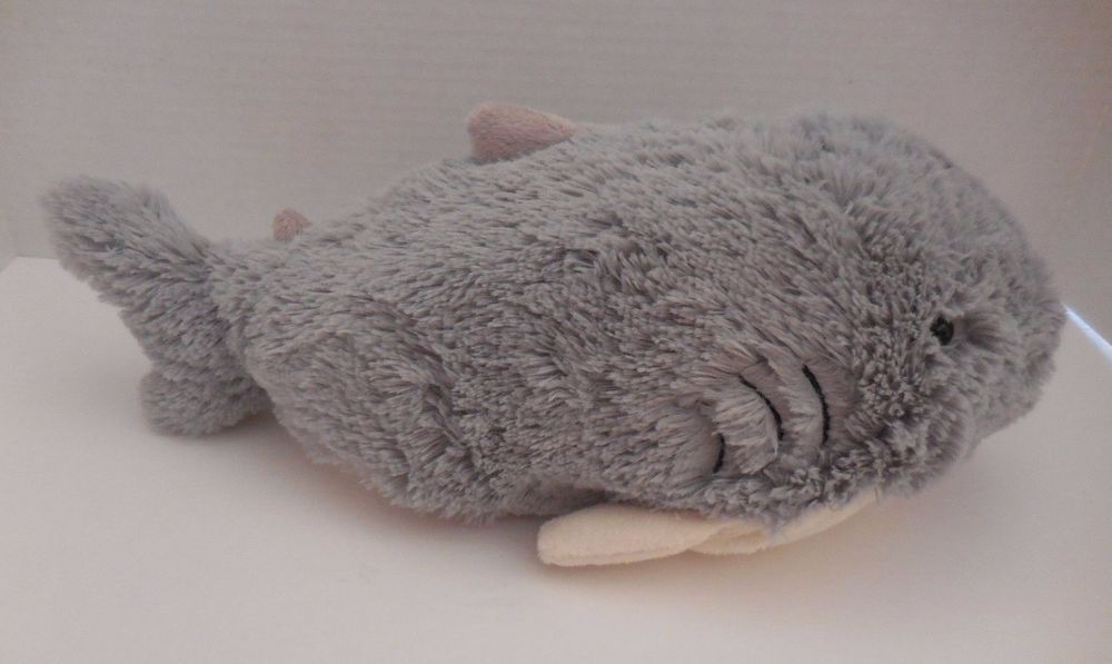 Nwt pee wee pillow pets 11 sharky shark greywhite velcro