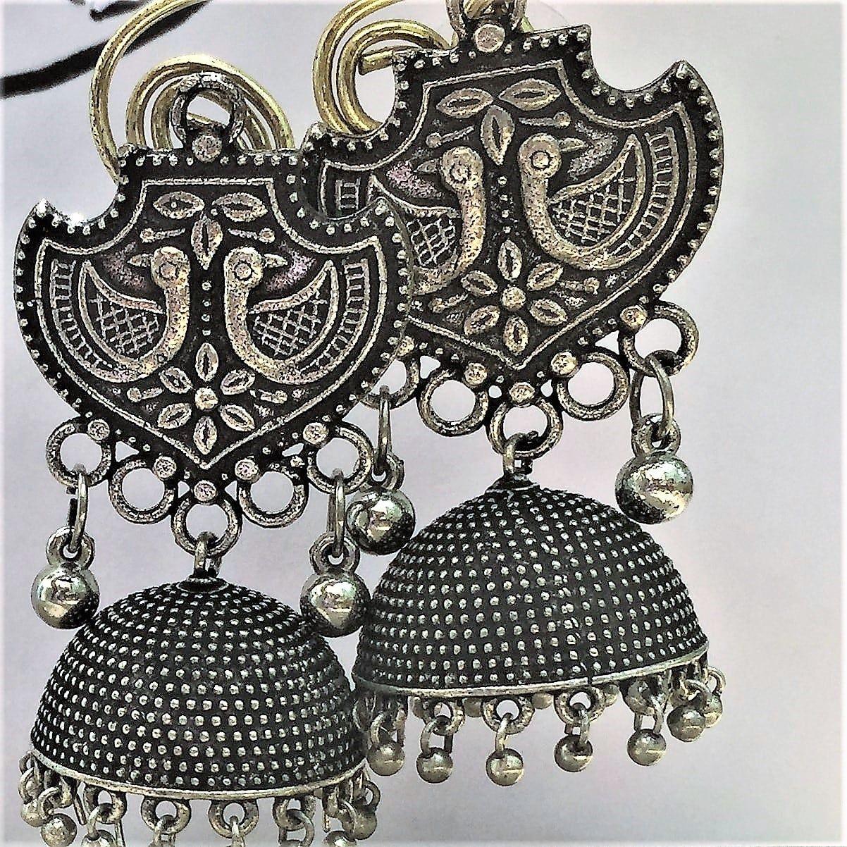 Buy Bohemian Designer German Silver Oxidized Dotted Jhumka Earring ...