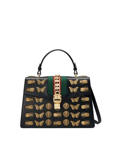 7e0e31caf Sylvie Medium Top-Handle Satchel Bag with Insect Embellishments ...