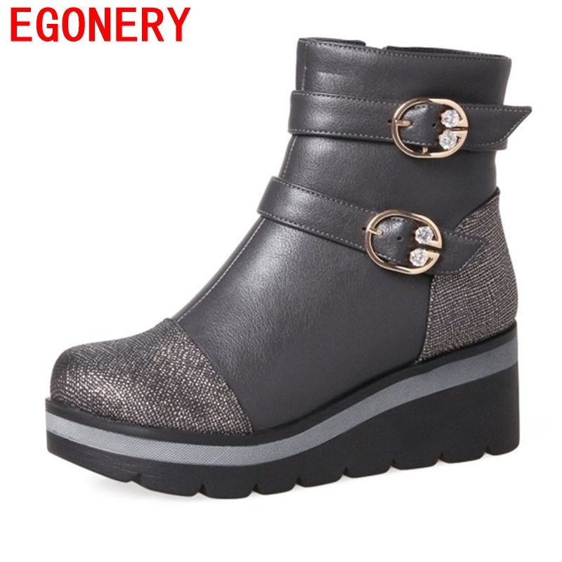 3d0f6d5f40b egonery ankle boots woman platform wedges high heel shoes round toe buckle  decoration light boots outside
