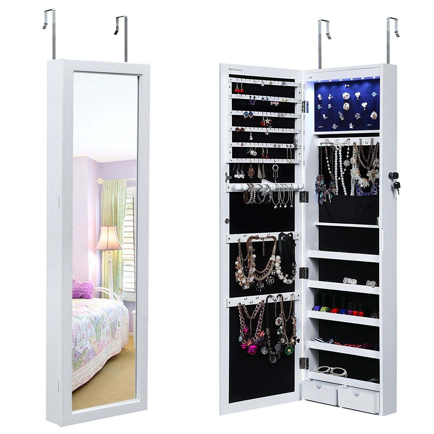 Amazon.com: SONGMICS Lockable Jewelry Cabinet Wall Door Mounted Jewelry Armoire Organizer with Mirror LED Light, White: Home & Kitchen