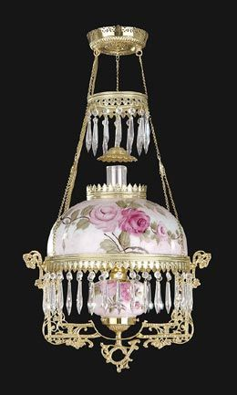 Library Lamp With Hand Painted Shade Font Antique Lamp Supply
