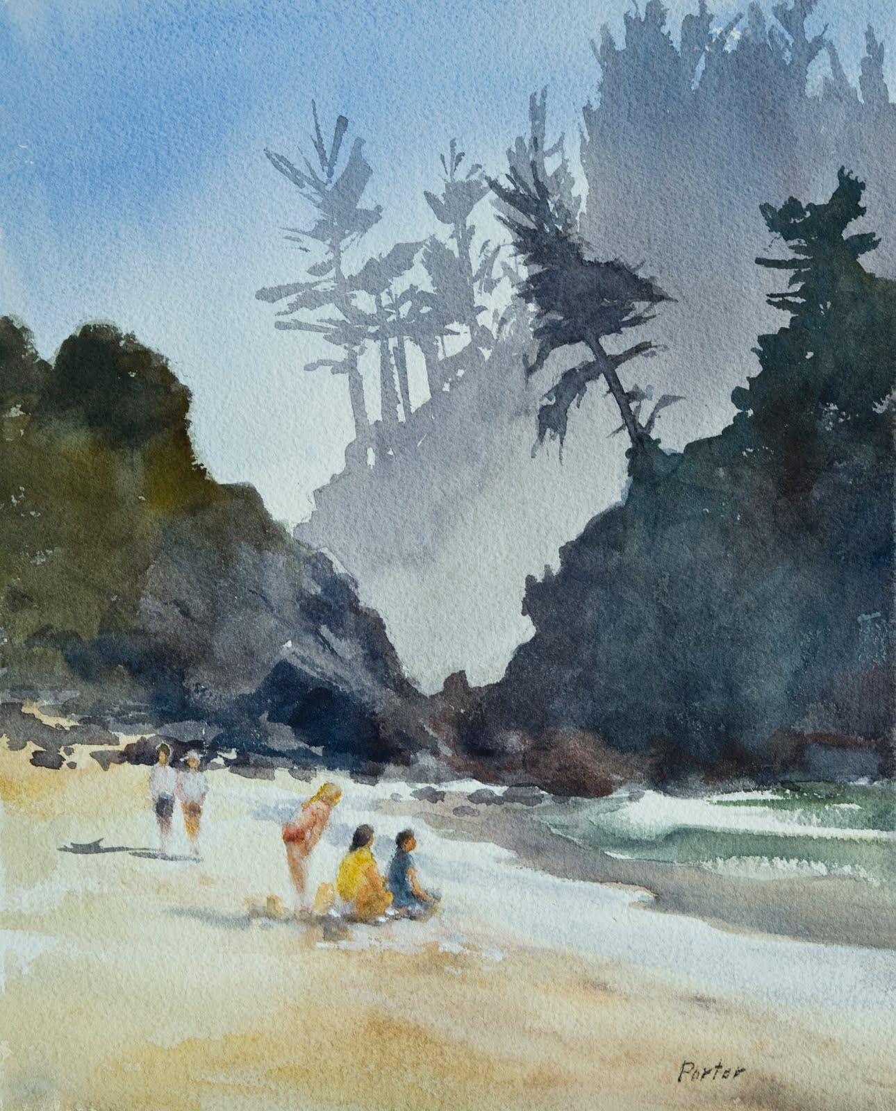 Watercolor Paintings Of People Beach Day