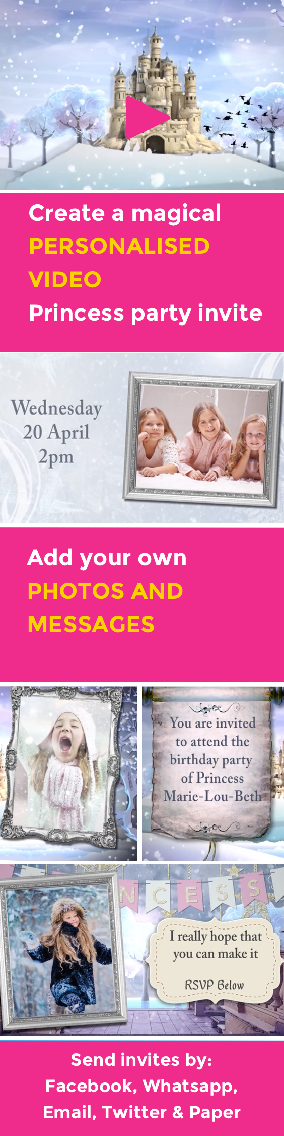 FREE Magical Princess Party VIDEO invitation. Add your own photos ...