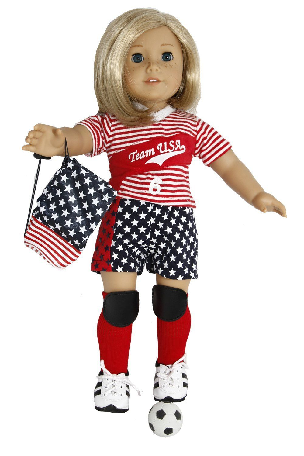 Amazon.com : Go Team USA Soccer Outfit for 18 Inch Dolls Like American Girl : Doll Clothing And Shoes : Toys & Games