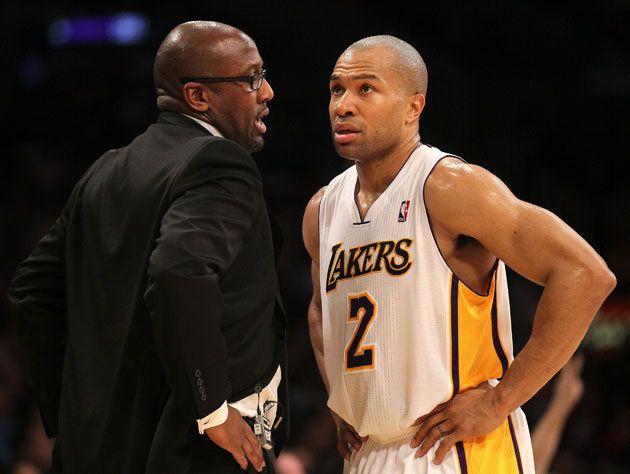 In A Startling Salary Dump The Lakers Trade Derek Fisher To Houston Spalding Basketball Hoop Derek Fisher Basketball Information