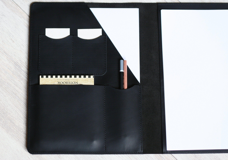 Personalized Leather Folder Portfolio A4 Leather Document Holder Personalized Black Leather Folder Portfolio Case Leather Notebook Cove #importantdocuments