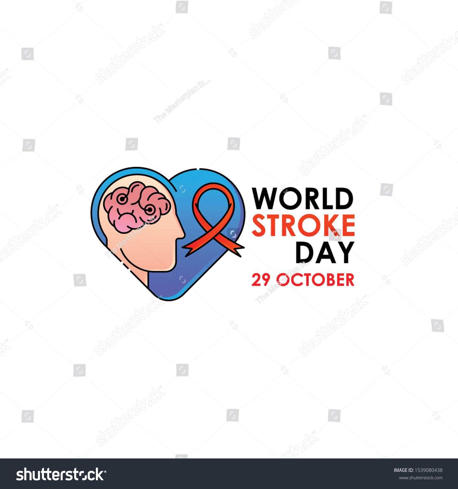 World Stroke Day Vector Logo Poster Illustration Of World Stroke Day On October 29th Health Care A In 2020 Business Card Mock Up World Stroke Day Awareness Campaign