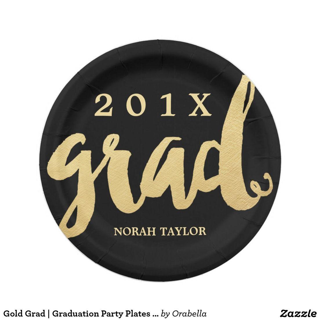 gold grad graduation party plates lg text graduation