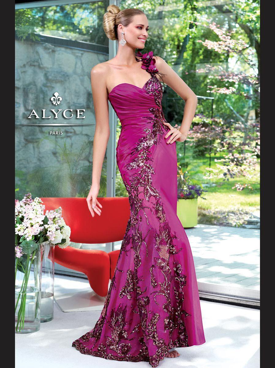 One shoulder mermaid alyce prom dress dressprom dress to