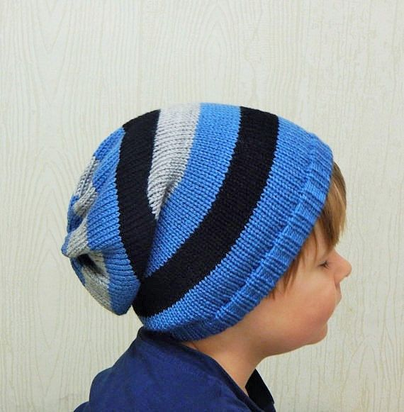 Boys hat knit striped slouch hat toddler by kristineshopforyou Baby Boy  Beanies d49e8b679705