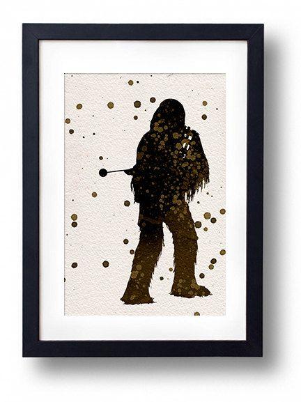 Star Wars Chewbacca watercolor illustrations art sci fi poster wall art minimalist art home decor movie poster geek art
