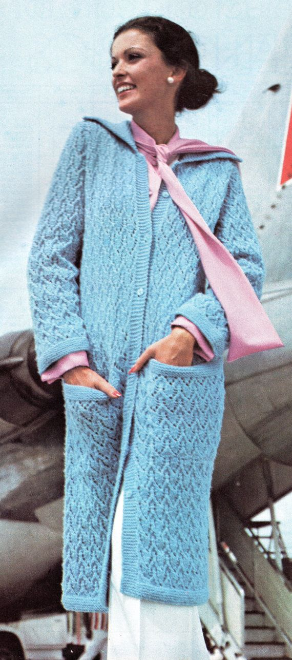Vintage Long Maxi Sweater Coat Knitting Pattern With Pockets Sizes