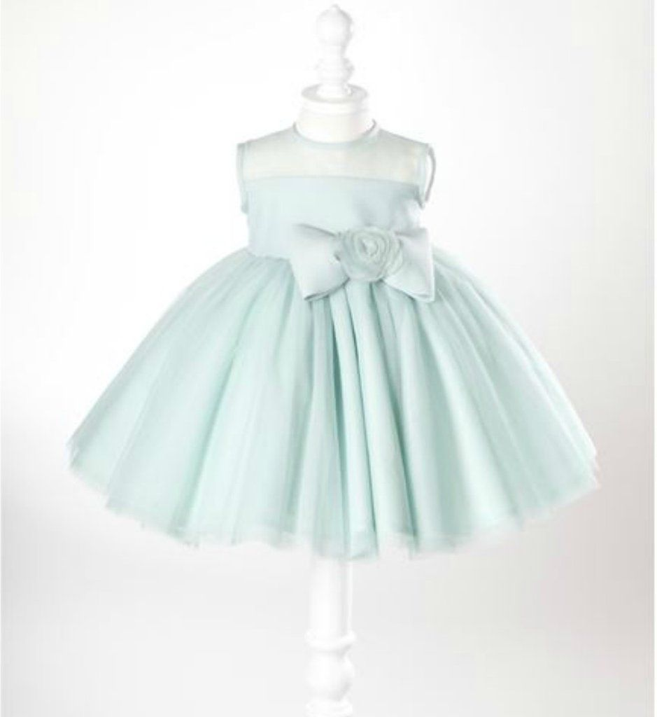 Mint Flower Girl Dress | Mint flowers, Green materials and Big bows