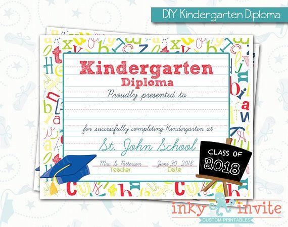 personalized preschool or kindergarten graduation diploma kinder