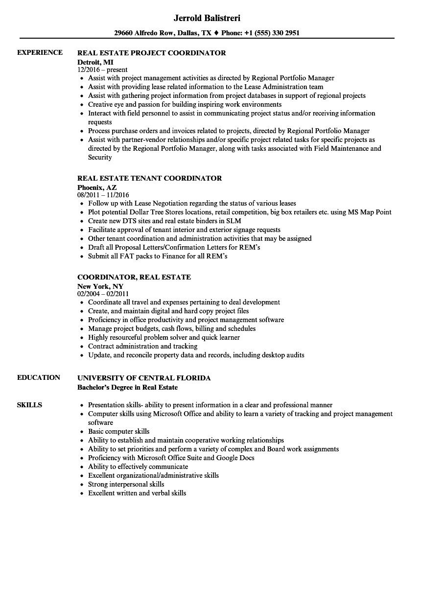 coordinator real estate resume sample Oberen Real Estate