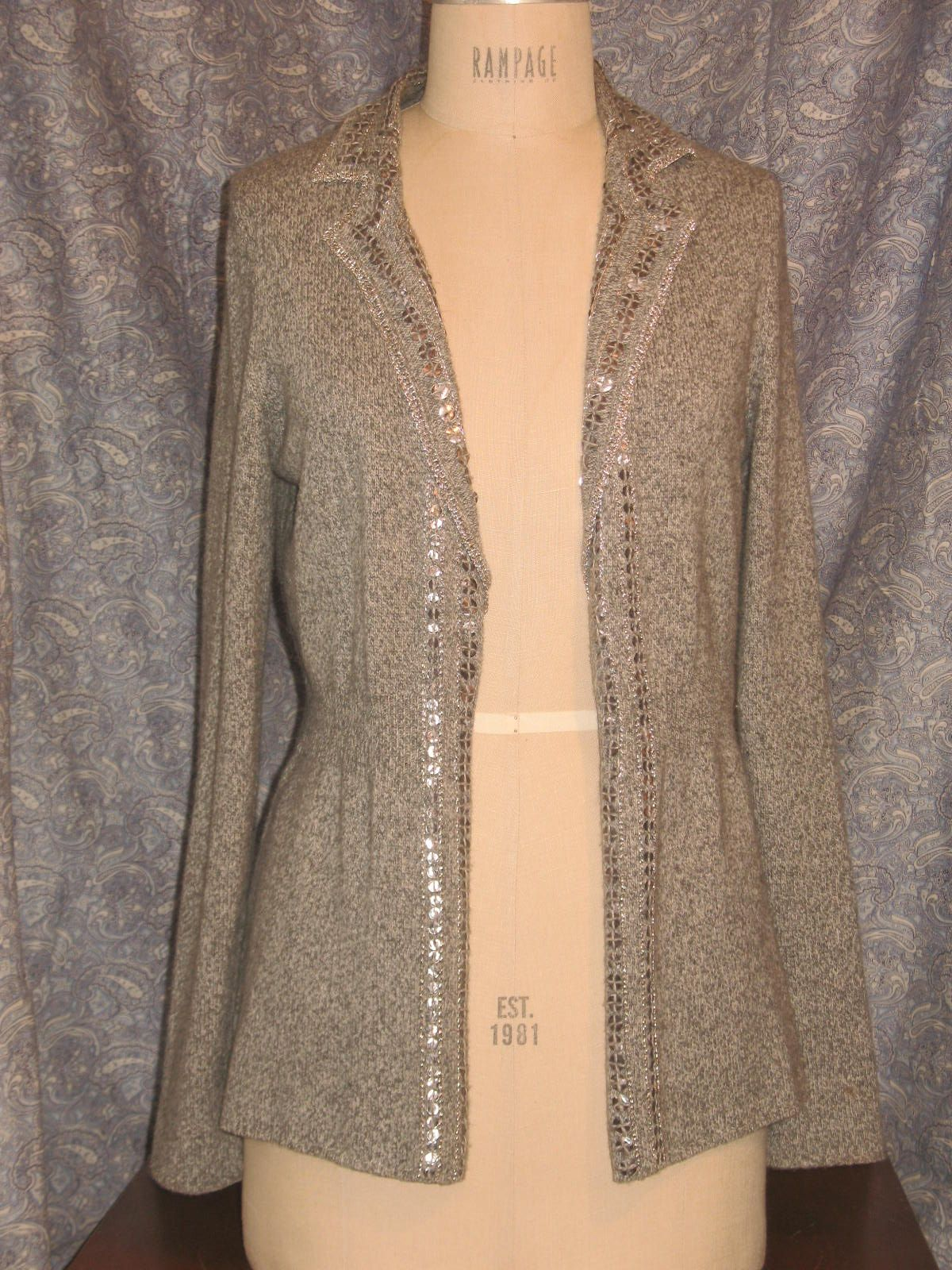 Open style cardigan sweater trimmed in silver sequins and silver ...