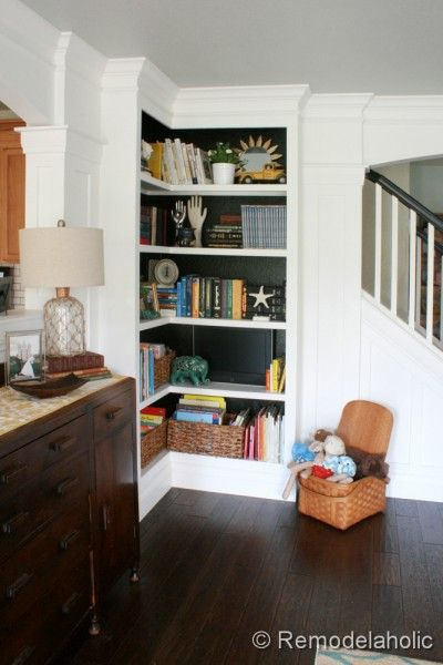 Built In Corner Bookcase Tutorial Remodelaholic Hide A Tv Inside Bookshelf By Painting The Back Of It Black Clever