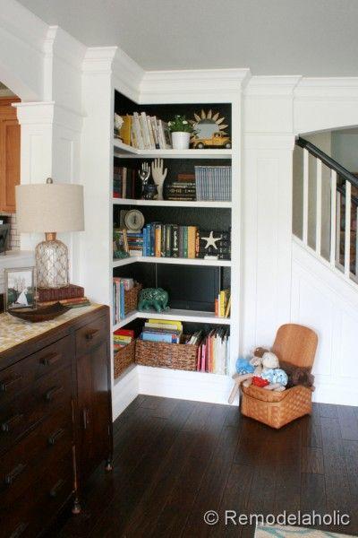 Builtin Corner Bookcase Tutorial Remodelaholic Hide A Tv Inside Stunning Living Room Built Ins Design Inspiration
