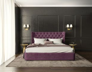 Classic Luxury Modern Chic Bedroom With Tufted Bed Front View