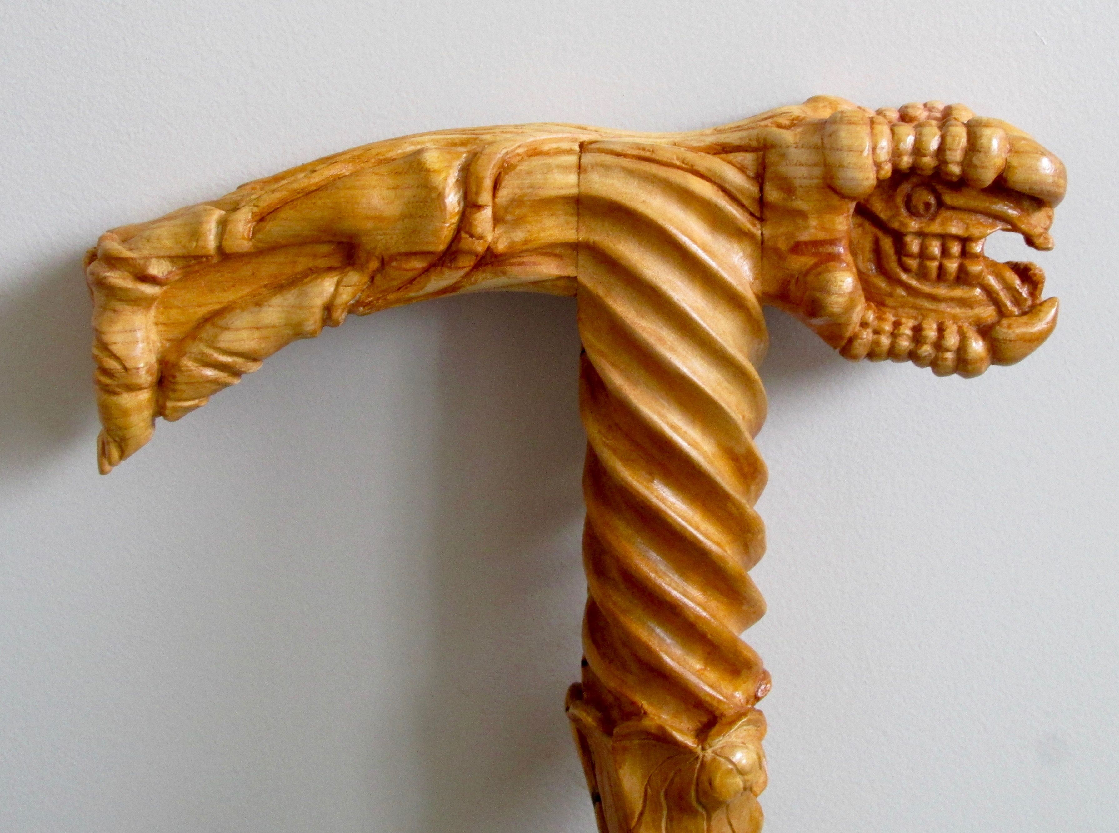 Handle of a Gothic walking stick by RusticJohn. The only of this design in the World.