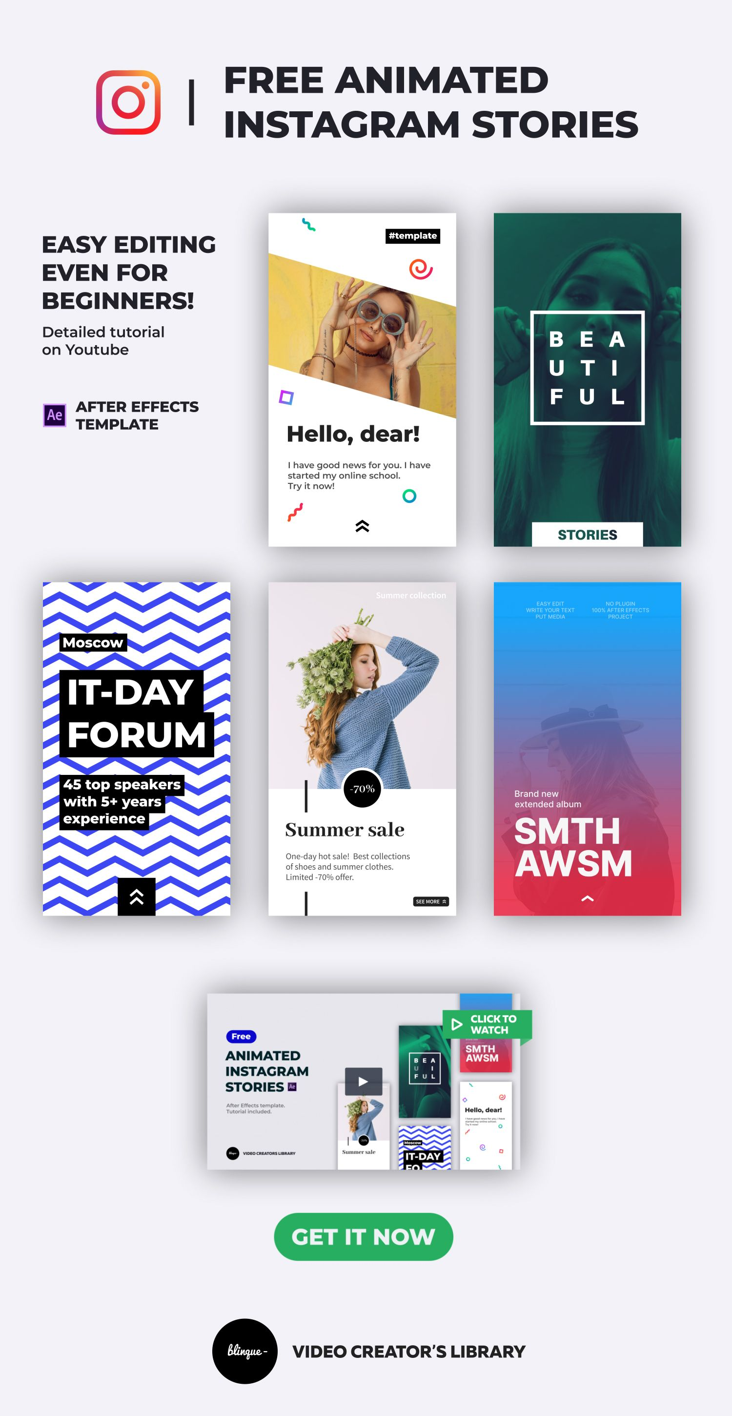 Free Animated Instagram Stories After Effects Template For Social Media Motion Array Blinque Instagram Story Templates Instagram Template