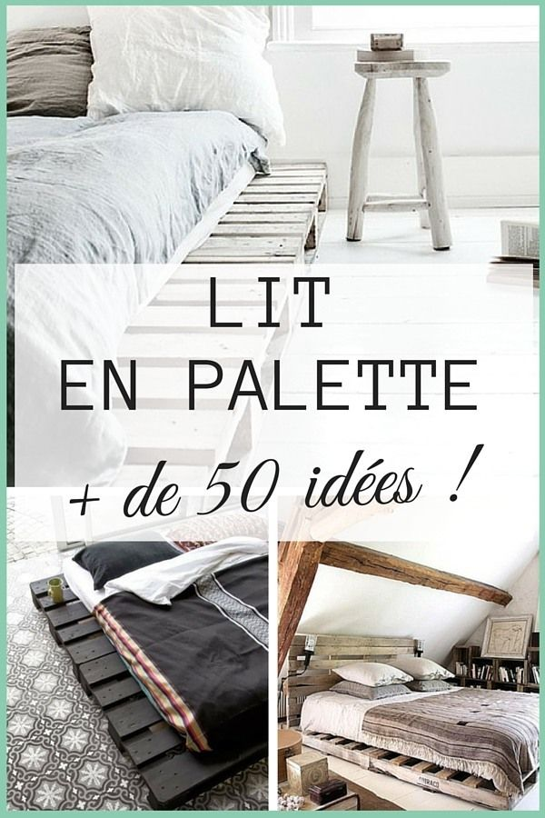 lit en palette 50 id es pour fabriquer un lit en palette divan ext rieur pinterest. Black Bedroom Furniture Sets. Home Design Ideas