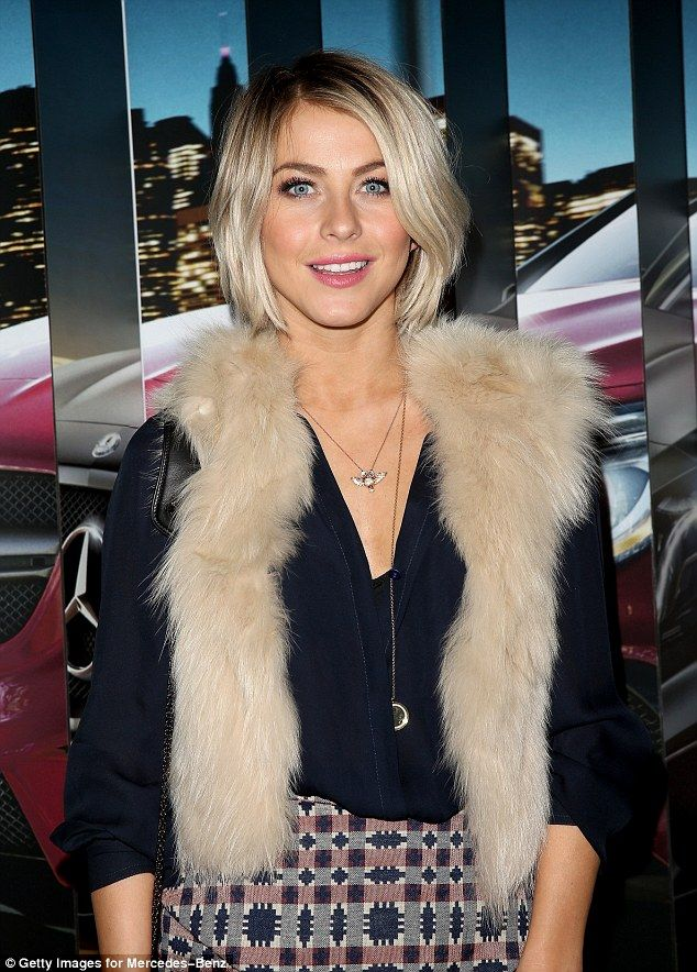 Julianne Hough sports patterned shirt, navy shirt and furry gilet