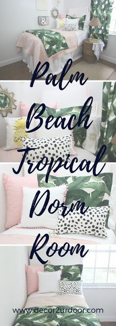 Perfectly pretty in PALM Beach. This gotta-have-it palm tree leaf fabric is simply spectacular. Stripes, pastel pinks, and Dalmatian prints…this bold yet beautiful set would look beautiful in your dorm room. #gottahaveit Perfectly pretty in PALM Beach. This gotta-have-it palm tree leaf fabric is simply spectacular. Stripes, pastel pinks, and Dalmatian prints…this bold yet beautiful set would look beautiful in your dorm room. #gottahaveit