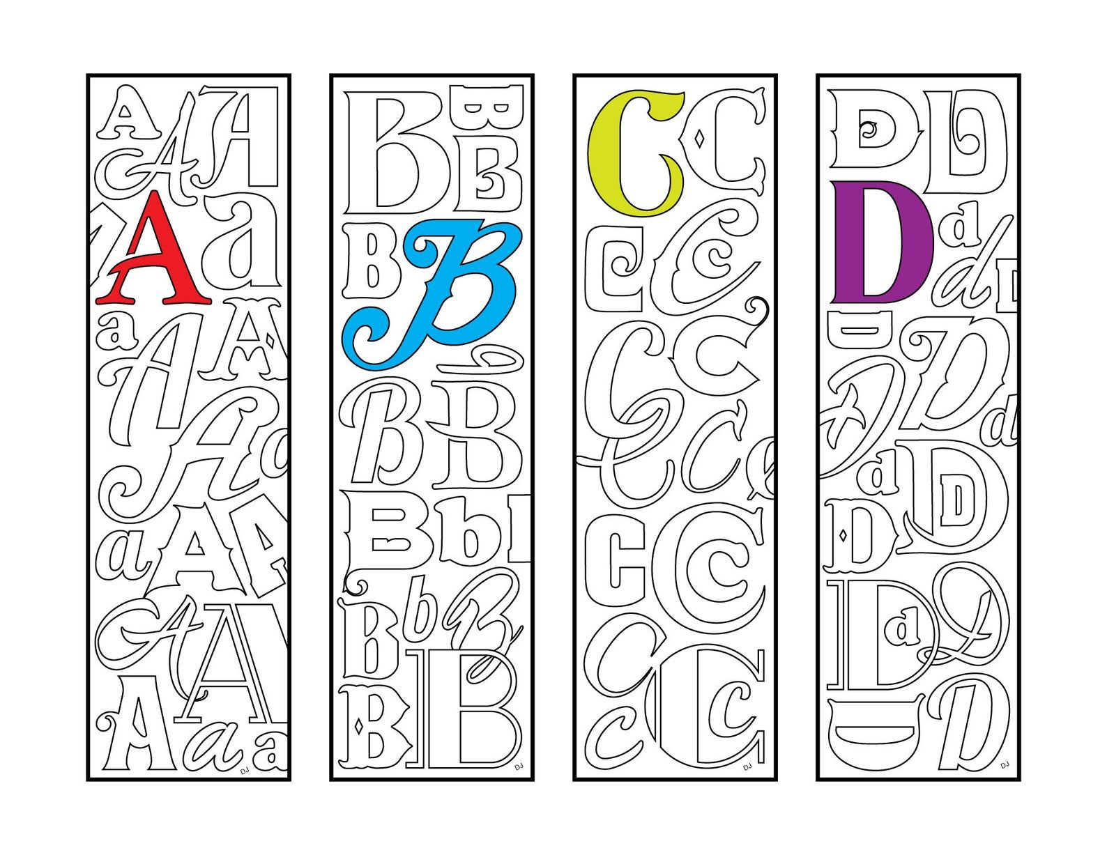 A B C D Monogram Alphabet Letter Bookmarks Pdf Zentangle Coloring Page Boekenleggers Bladwijzer Knutselen Met Ijsstokjes