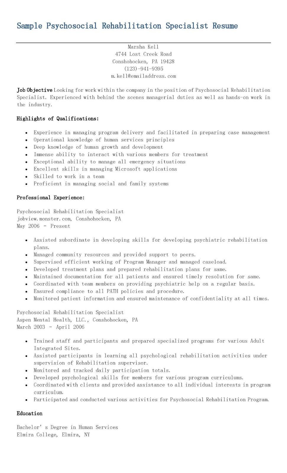 Sample Psychosocial Rehabilitation Specialist Resume  Resame