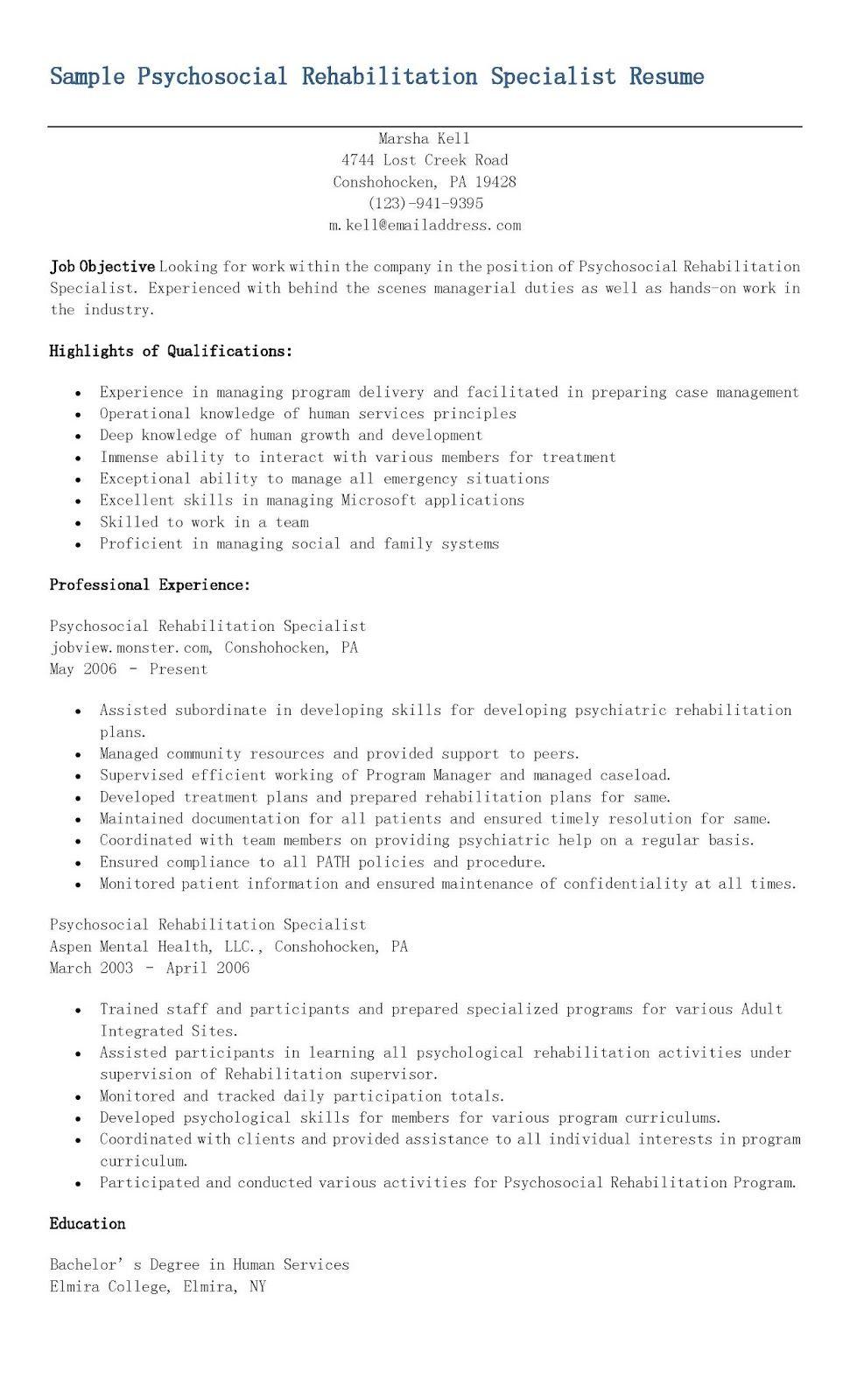 sample psychosocial rehabilitation specialist resume resame
