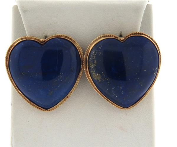 Large 14k Gold Lapis Heart Earrings Featured in our upcoming auction on March 21, 2016!