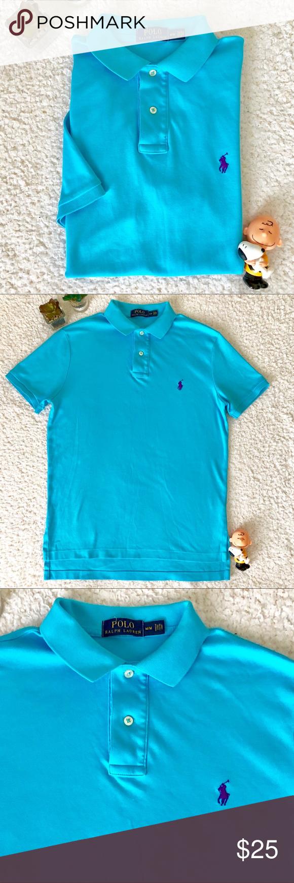 Ralph Lauren Aqua Blue Polo Shirt Men Medium Blue Polo Shirts Mens Polo Shirts Polo Shirt