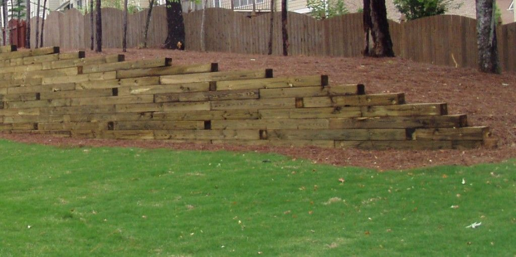 Railroad Tie Landscape Whether Your Slope Is At An Incline Or Decline A Retaining Wall Will
