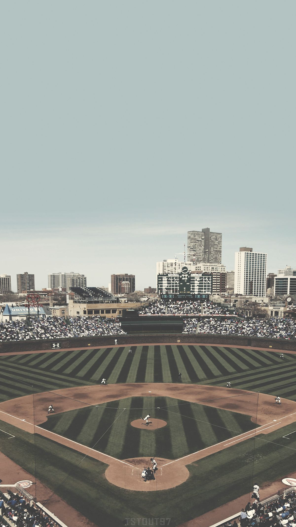 Chicago Cubs Wrigley Field Mobile Wallpaper In 2020 Chicago Cubs Wallpaper Cubs Wallpaper Wrigley Field