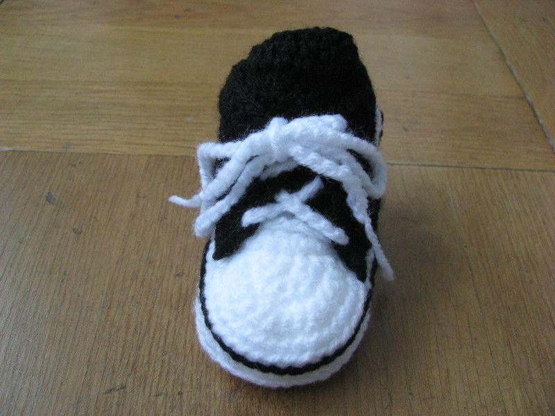 Strick Häkelschuhe Babyschuhe Babychucks Gehäkelt Schwarz