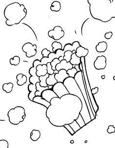 Popcorn Color Page Letter P Week Preschool Kindergarten Colored Popcorn Coloring Pages Popcorn Theme