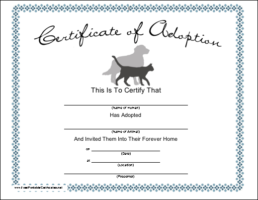 Blank adoption certificate for a adopt a puppy birthday party fill blank adoption certificate for a adopt a puppy birthday party fill dog bed with stuffed animal yadclub Gallery